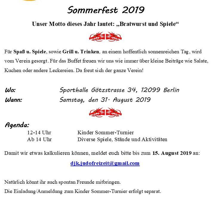Ankündigung: Sommerfest der Judoabteilung